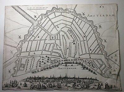 Large Original 17th 18th Century Map or Plan of Amsterdam, By MV Somern .F. 19th