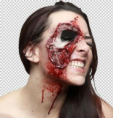 Prosthetic Wounds Closer Look Face Damage Horror Halloween Fancy Dress