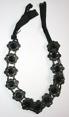 Antique Victorian Celluloid/ Vulcanite & French Jet Mourning Necklace