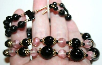 VINTAGE ART DECO to 1950s FRENCH JET & PINK MARBLE GLASS TWO-STRAND NECKLACE
