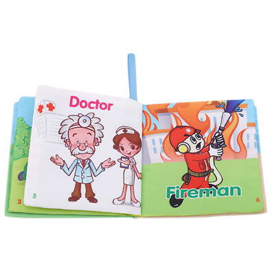 Infant Baby Book Soft Cloth Intelligence Development English Cognize Book Toy 6A