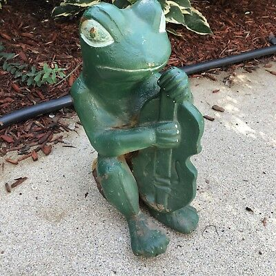 Old Antique Painted Cast Iron Garden Statue Frog Playing Bass