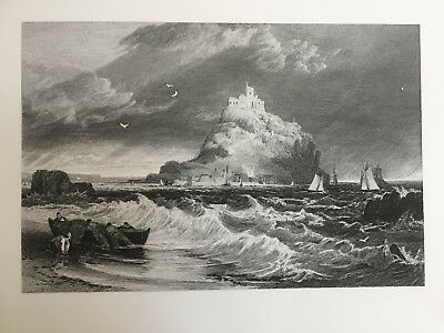 1826 Antique good size print. St Michael's Mount, Cornwall - Turner / Cooke