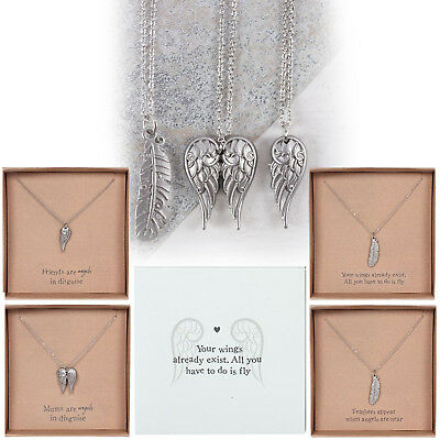 Guardian Angel Wings Feather Pendant Necklace Mum Friend Silver Beautiful Gift