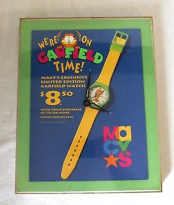 Macy's Garfield Time Store Promotional Clock for Wrist Watches for Repair