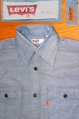 Vintage Levis WorkShirt CHAMBRAY SHIRT Orange Tab Button Down USA  Mens SMALL
