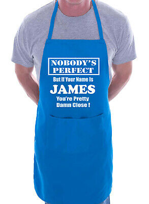 Mens Personalised Apron BBQ First Name James Fathers Day Gift Present Funny