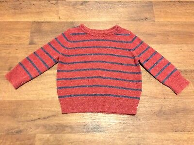 Baby Gap Boys 12-18 Months Knitted Sweater Red Blue Striped Long Sleeve