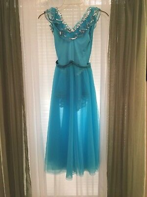Beautiful Vintage Bright Blue Girls  Dance Costume with Miss Oklahoma Sash