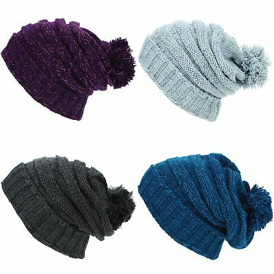694c47d3fd3 Beanie Hat Cap Bobble Baggy Slouch Warm Winter Ribbed Lined LoudElephant  Acrylic