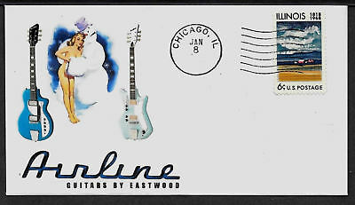 1960s Airline Electric Guitar & Pin Up Girl on Collector's Envelope  *A233