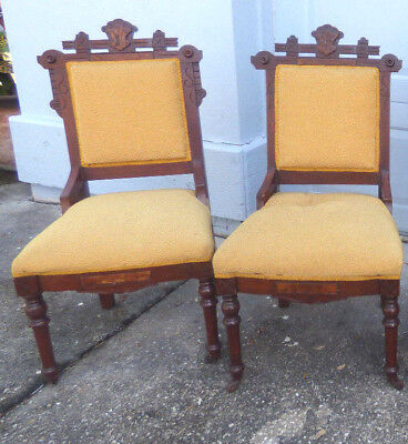 2 EASTLAKE Antique Victorian Walnut Parlor Side Dining Chairs - Beautiful!