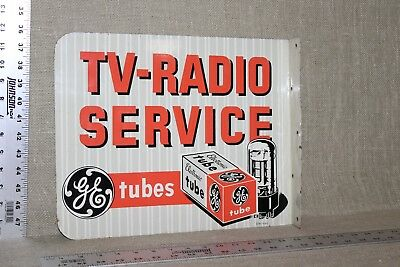 RARE 1950's GE RADIO & TELEVISION TUBES SERVICE 2-SIDED METAL FLANGE TV ELECTRIC