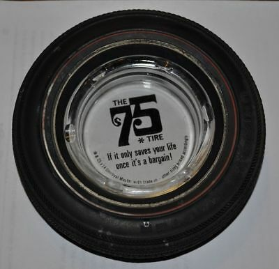 the 75 tire Uniroyal Master rubber glass vintage ashtray advertising