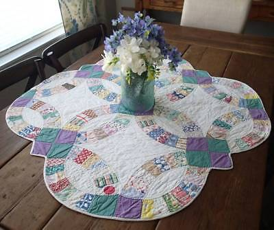 Vintage Cottage Home! Green & Purple Wedding Ring Table Crib Quilt 33x33