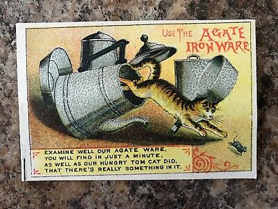 1800's Victorian Trade Card -Agate Iron Ware with Cat, Mouse,Tea Pot