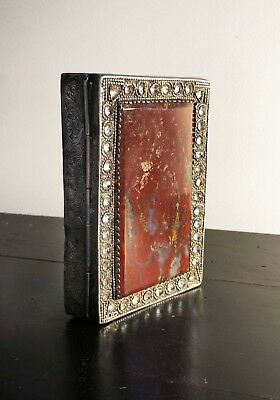 Antique Agate and Rock Crystal Paste Silver box casket snuff spice georgian