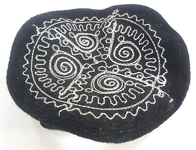 Embroidered Black Pakol Pakul Afghan Donut Hat Beret Chitral Embroidery Taliban