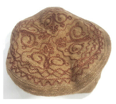 Embroidered Brown Pakol Pakul Afghan Donut Hat Beret Chitral Embroidery Taliban