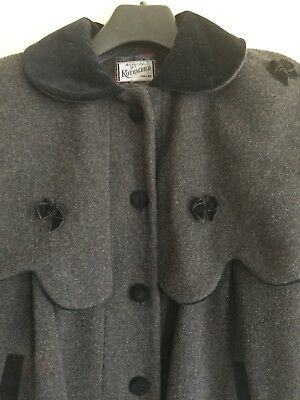 Rothschild Heather Gray Black Cape Top Lined Girl Coat SX 8 100% Wool Authentic