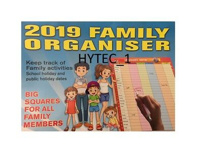 2019 14 MONTH  FAMILY ORGANISER WALL CALENDAR by Bartel,  NEW, FREE POST