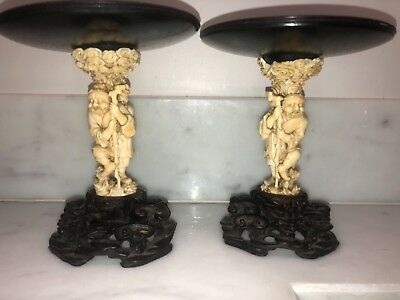 Pair of 18th cent Chinese carved wooden Stands wonderfully carved
