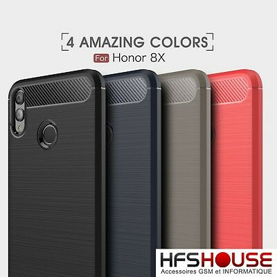 Pour Huawei Honor 8X Coque Housse Etui Carbone En Silicone Gel Case Cover