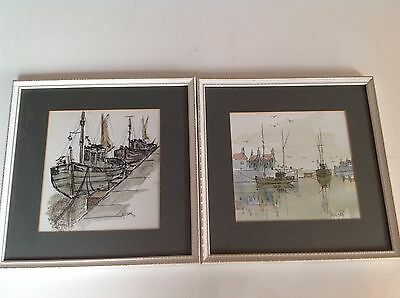 Wilson - Pair of Original Pen and wash Quay Maritime Scene.1974 Boats Trawler