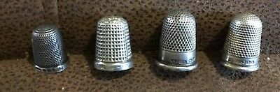 Four ANTIQUE SILVER THIMBLES All Hallmarked