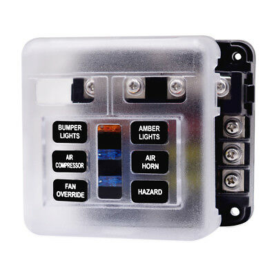 Fuse Box With Indicator LED Light & Protection Cover Circuit Block Panel 6 Way
