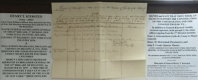 WAR 1812 MEXICAN CIVIL WAR GENERAL COLONEL 75th NY INFANTRY DOCUMENT SIGNED 1839