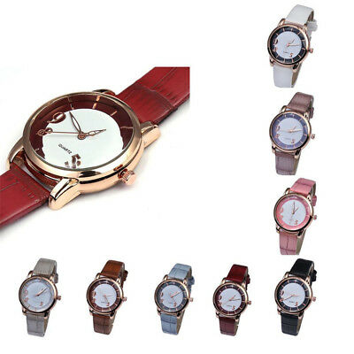 Women's Fashion Luxury PU Leather Strap Analog Quartz Round Watch Watches CA