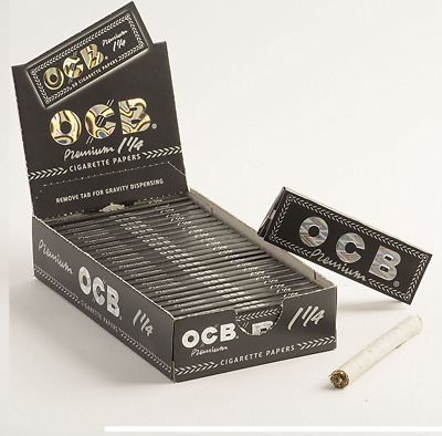 12x Packs OCB Premium Black 1 1/4 ( 50 Leaves / Papers Each Pack ) Rolling Thin