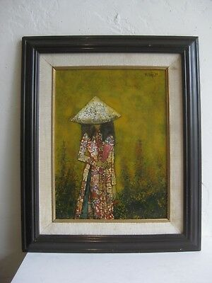 Vtg VIETNAM VIETNAMESE LACQUER LACQUERED EGGSHELL ART MOP PAINTING SIGNED!