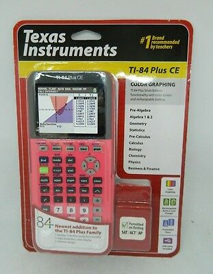 Texas Instruments Ti-84 Plus CE Coral Pink Color  Graphing Calculator