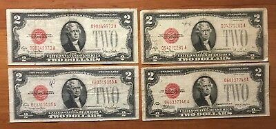 Four (4) 1928 Circulated $2 United States Notes Red Seal Notes - No Reserve