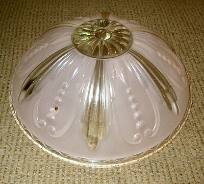 Vtg Art Deco Ceiling Lamp Fixture Bowl Chandelier Frosted Glass Pink 11""