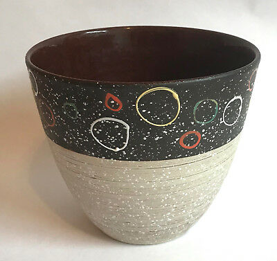 vintage mid century modern pottery potted plant holder planter atomc eames MCM