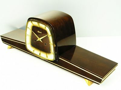 Beautiful Later Art Deco Chiming Mantel Clock From Hemle With Balance Wheel