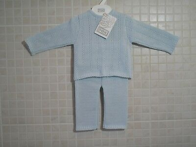 PEX Baby Boy Knitted Spanish Romany Style Suit set Pure Cotton Blue 6- 24 months