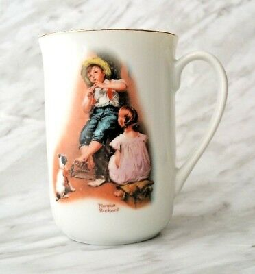 """Norman Rockwell Collectible Series Mug/Cup """"The Music Maker"""" 1981 Gold Trim"""