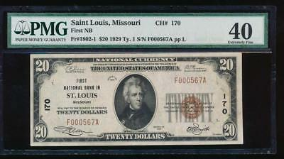 AC 1929 $20 First National Bank of St. Louis, Missouri PMG 40 Ch #170
