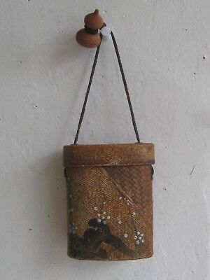 Fine Old Japanese INRO Hand Painted Box Carved Wood Ojime Toggle Woven Bamboo