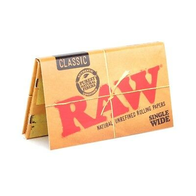 5x Packs RAW Classic Single Wide ( 100 Leaves / Papers Each Pack ) Rolling