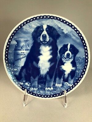 Tove Svendsen (Denmark) Bernese Mountain Dog Plate, Dog And Puppy With Milk Can