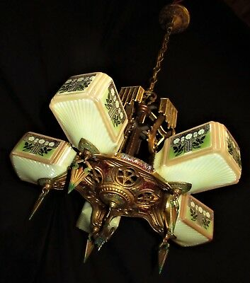 VINTAGE ART DECO SLIP SHADE CAST METAL CEILING LIGHT CHANDELIER FIXTURE 1930's