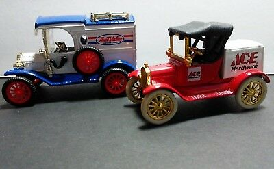 2  Each Ertl Die Cast 1913 Ford True Value Truck & 1918 Ford Model T Runabout