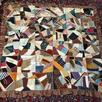 Antique 1887 Crazy Quilt Silk And Satin, Signed, Dated