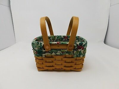 Longaberger Holiday Santa Helper Basket with Holly Fabric and Protector 2003