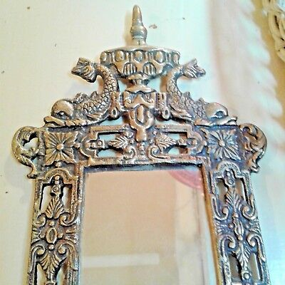 Vintage Brass Wall Sconce with Mirror & Double Candle Holder Dolphins